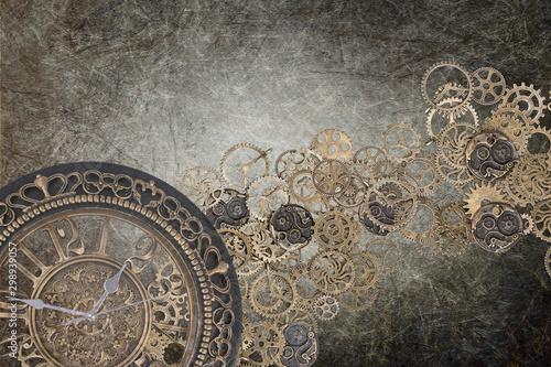 Obraz na płótnie steampunk grunge clock backdrop brown - time written gear