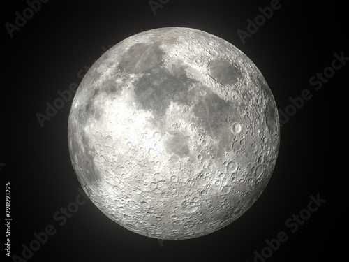 Canvas Print Earth's Moon Glowing On Black Background
