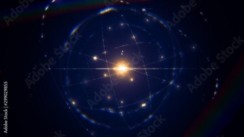 Obraz na płótnie dynamic energetic blue indigo gold atom model concept illustration of glowing pr