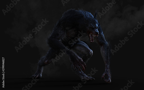 Canvas Print 3d Illustration of a werewolf on dark background with clipping path
