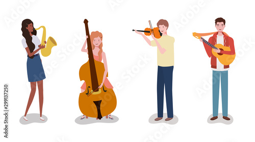 Photo group music band playing instruments characters