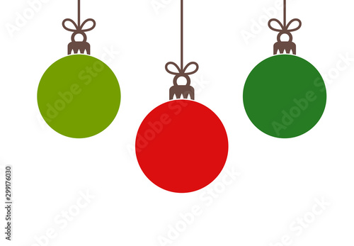 Canvas Print Christmas red and green balls hanging ornaments.