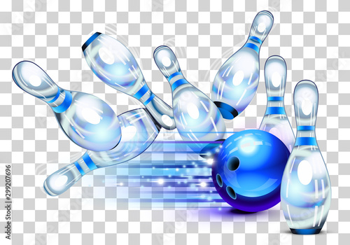 Foto Playing a blue bowling Game