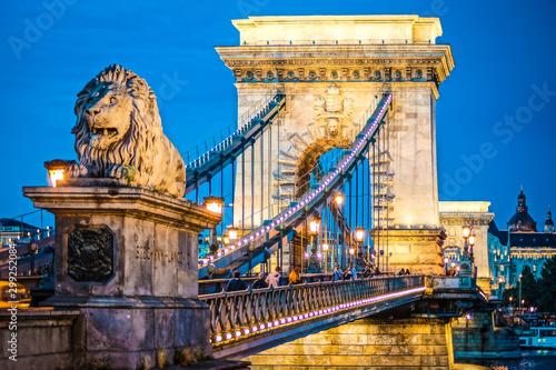 Fototapeta premium Nocny widok na Most Łańcuchowy Szechenyi (Budapeszt, Węgry)