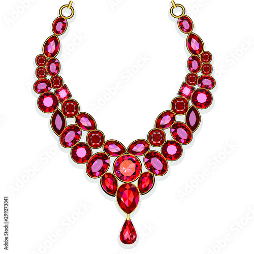 Fototapeta Illustration red jewelry gold necklace with rubies