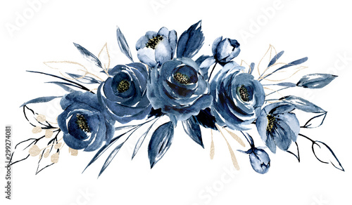 Navy blue flowers watercolor, floral clip art. Bouquet roses perfectly for pr...