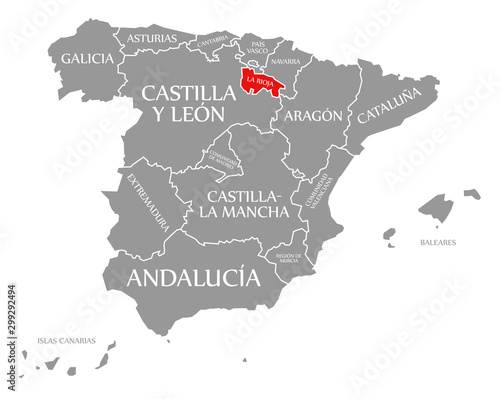 La Rioja red highlighted in map of Spain