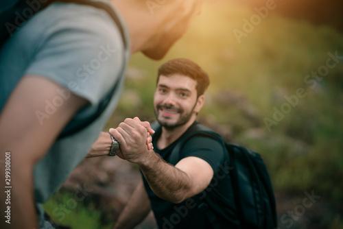 Платно group of friends hiking climbing mountain nature landscape