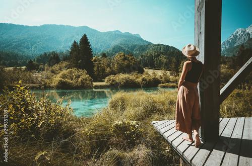 Obraz na płótnie Woman enjoying freedom on nature outdoors