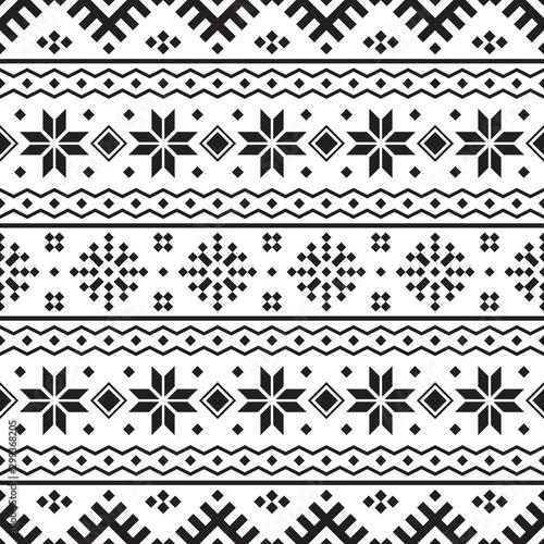 Fotografia, Obraz Knitted Christmas Ethnic pattern on white background