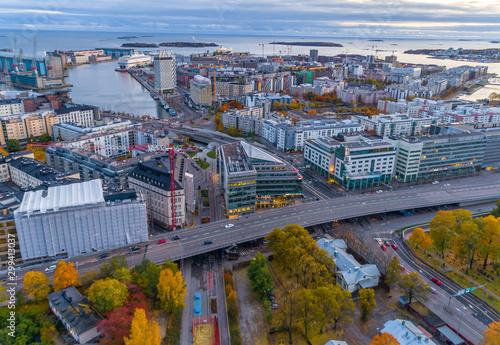 Canvas Print Aerial view of Helsinki