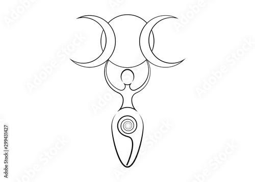 Obraz na plátně spiral goddess of fertility and triple moon wiccan