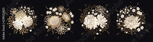 Fotografia Set of luxurious bouquets of flowers Isolated on black background