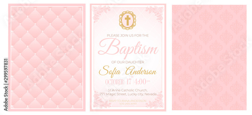 Leinwand Poster Baptism cute pink invitation template card