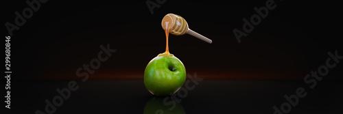 Wallpaper Mural honey and apple. 3d rendering
