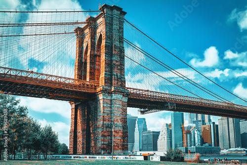 Obraz na płótnie View Brooklyn Bridge from Empire Fulton Ferry State Park