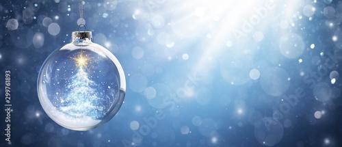 Shiny Christmas Tree In Snow Globe