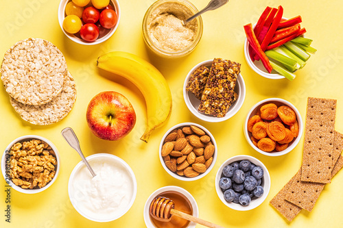 Photo Healthy snack concept, top view.