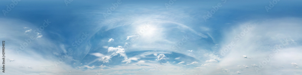 blue sky with beautiful clouds. Seamless hdri panorama 360 degrees angle view with zenith for use in 3d graphics or game development as sky dome or edit drone shot