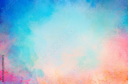 Obraz na plátně blue watercolor paint background design with colorful orange pink borders and br