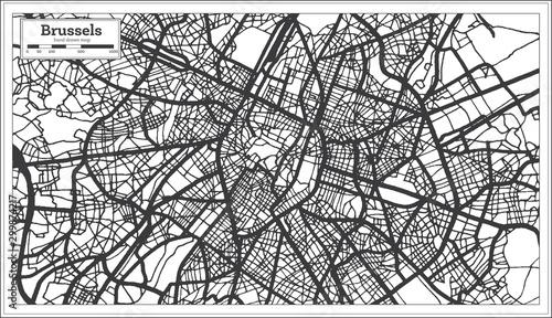 Obraz na plátně Brussels Belgium City Map in Black and White Color. Outline Map.