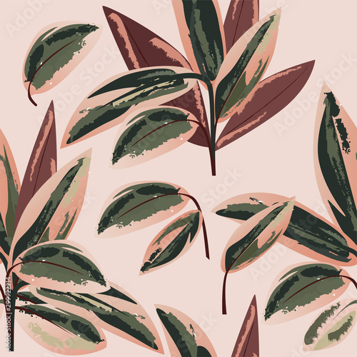 Carta da parati Pink and green tropical foliage seamless pattern vector