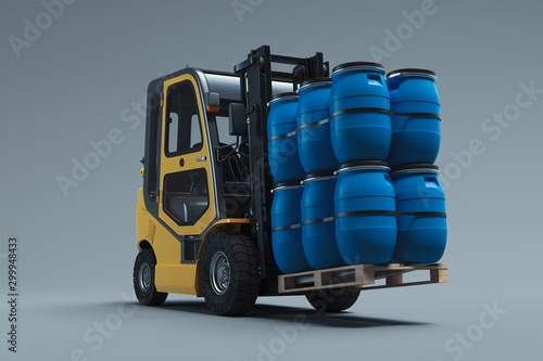 Leinwand Poster Realistic forklift lifting blue barrels isolated on gray background