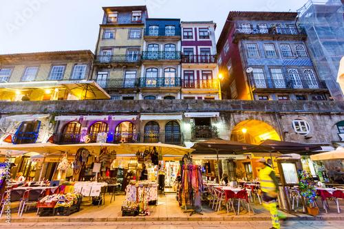 Obraz na plátně Colorful night view of Porto