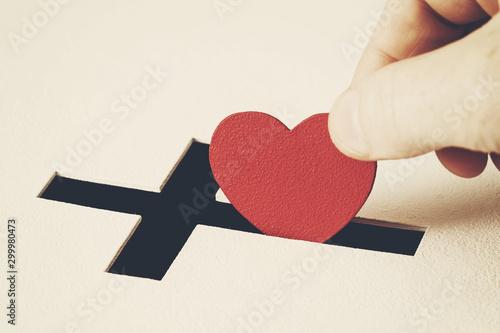 Murais de parede Concept of sincere devotion to faith with whole heart