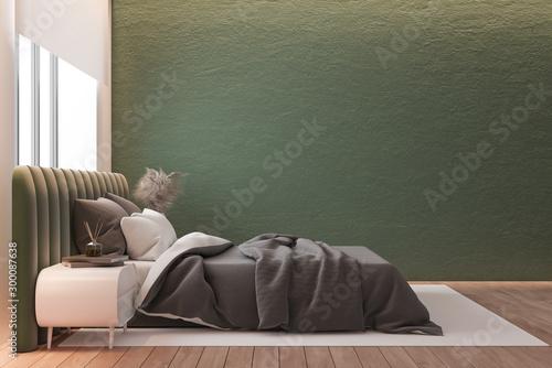 Side view of green and pink bedroom, gray bed Tapéta, Fotótapéta