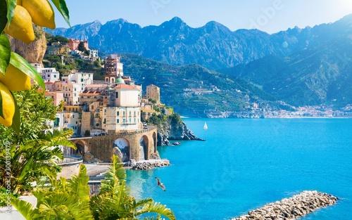 Obraz na plátně Small town Atrani on Amalfi Coast in province of Salerno, Campania region, Italy