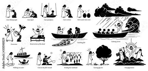 Canvas-taulu Miracles of Jesus Christ icons pictogram