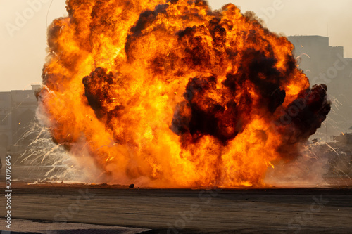 Photo Massive fire explosion or strike in military combat and war