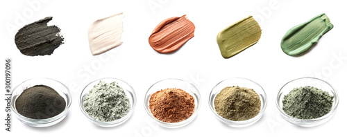 Fotografia Collage with different cosmetic clays on white background