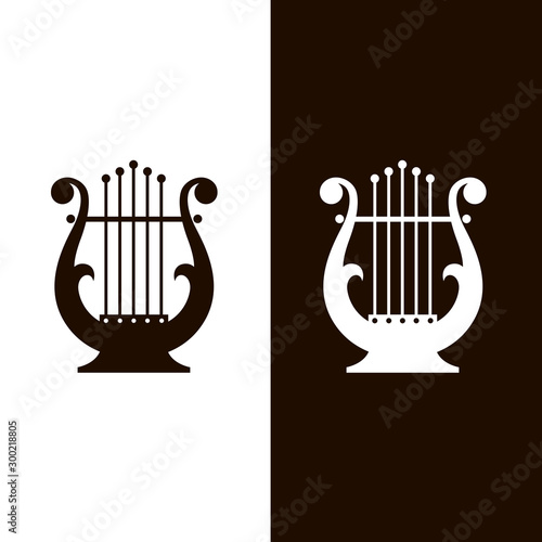 Canvas-taulu ancient lyre icons set isolated on white and black background