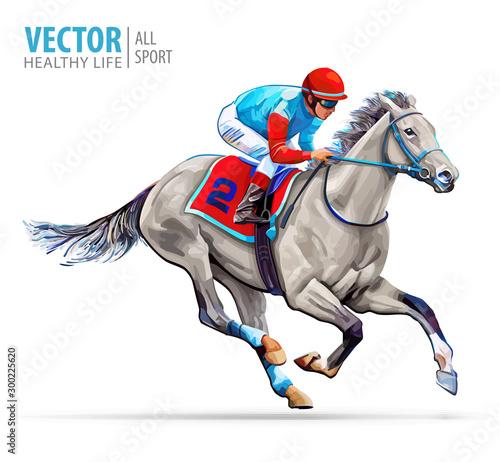 Obraz na płótnie Jockey on racing horse