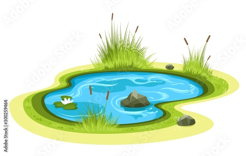 Obraz na plátně Cartoon garden pond
