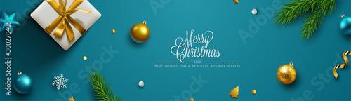 Christmas background, banner, frame, header, background or greeting card design. Vector Illustration