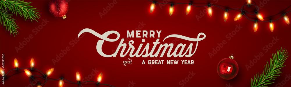 Christmas background, banner, frame, header, background or greeting card design. Vector Illustration <span>plik: #300272050 | autor: blinkblink</span>