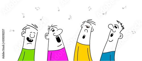 Fotografia Men singing karaoke, cartoon vector illustration isolated on white background, competition, party, celebration