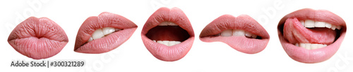 Fotografia Collage with female lips on white background