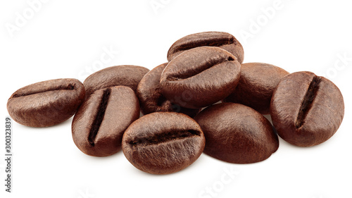 Fotografia, Obraz coffee beans isolated on white background, clipping path, full depth of field