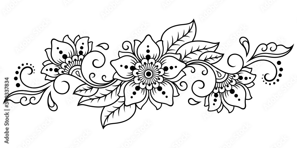 Mehndi flower pattern for Henna drawing and tattoo. Decoration in ethnic oriental, Indian style. Doodle ornament. Outline hand draw vector illustration. <span>plik: #300337834   autor: Katikam</span>