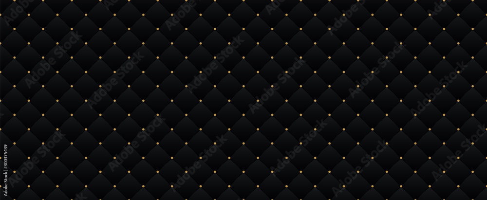 Czarny ciemny elegancki wzór w stylu retro z małymi złotymi kropkami. Może być używany na imprezę królewską premium. Luksusowy plakat szablon BG z rocznika tekstury skóry. Tło dla karty z zaproszeniem <span>plik: #300375439   autor: Alona Khadzhyoglo</span>