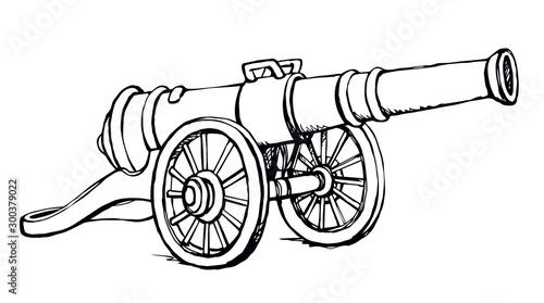 Fotografia Ancient iron cannon. Vector drawing