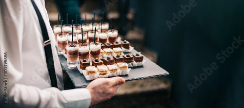 Waiter Catering Service Chocolate Mousse Sweets Finger Bites Dessert Plate Food Buffet