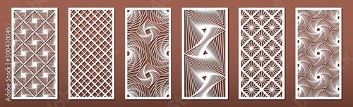 Fotografia Set of laser cut templates with geometric pattern