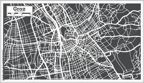 Canvas Print Graz Austria City Map in Retro Style. Outline Map.