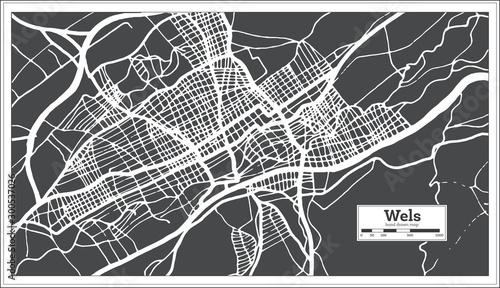 Fotografia Wels Austria City Map in Retro Style. Outline Map.