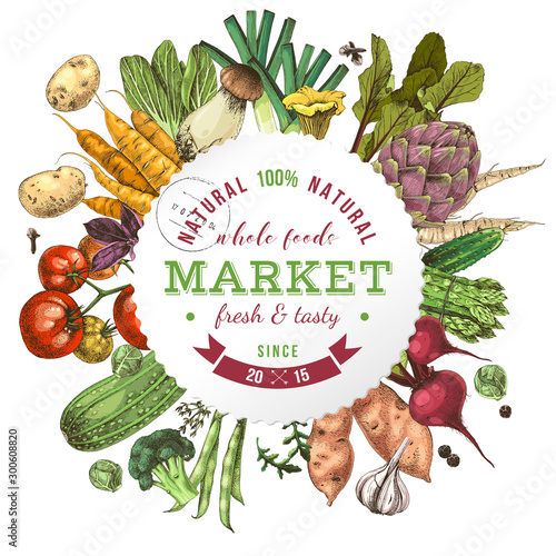 Canvas Print Background with paper emblem and hand drawn vegetables